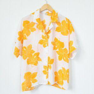 Vintage Orange/Yellow Flower Print Shirt, Size 16